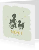 Geboortekaartje bakfietsje met zusje watercolor