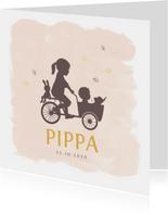 Geboortekaartje bakfietsje met zusjes watercolor