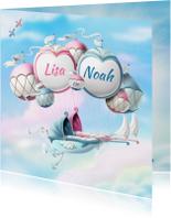 Geboortekaartje ballonnen met wiegjes tweeling jongen meisje