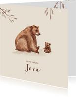 Geboortekaartje beer met kleine beer en takjes