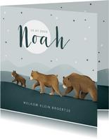 Geboortekaartje berenfamilie broertje dieren