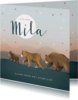 Geboortekaartje berenfamilie illustratie meisje sterren maan