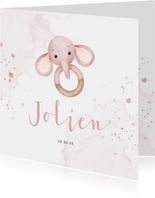 Geboortekaartje bijtring met lief olifantje