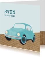 Geboortekaartje blauw autootje