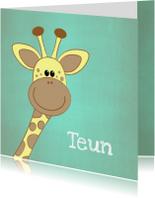 Geboortekaartje blauw groen met een lief girafje