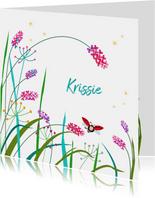 Geboortekaartje bloemen met lieveheersbeestje