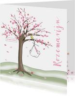 Geboortekaartje bloesemboom voor een meisje