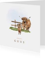 Geboortekaartje boerderij met een koe met kleintje