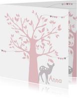 Geboortekaartje boom hertje