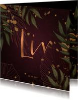 Geboortekaartje bordeaux met jungle bladeren