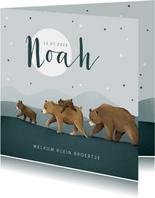 Geboortekaartje broertje dieren beren familie sterren