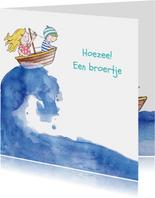 Geboortekaartje broertje illustratie bootje op zee blond