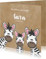 Geboortekaartje broertje of zusje met schattige zebra's