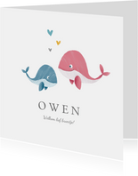Geboortekaartje broertje of zusje met walvisjes
