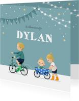 Geboortekaartje broertje zusje fiets feestje slingers