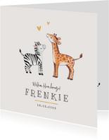 Geboortekaartje broertje zusje giraf zebra hartje goud