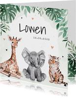 Geboortekaartje dieren jungle giraf olifant tijger waterverf