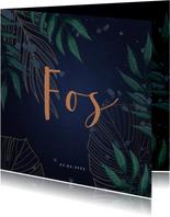 Geboortekaartje donkerblauw met jungle bladeren
