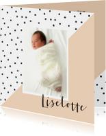 Geboortekaartje dots, aanpasbare kleur