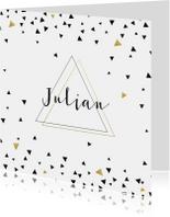 Geboortekaartje driehoekjes met goud