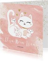 Geboortekaartje drieling meerling meisjes poes met kittens