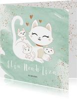 Geboortekaartje drieling meerling neutraal poes met kittens