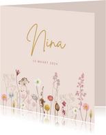Geboortekaartje droogbloemen roze vierkant