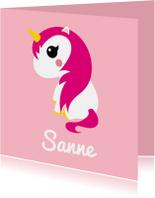 Geboortekaartje eenhoorn met roze haar en sterretjes