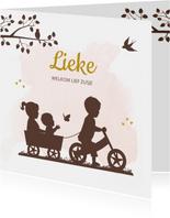 Geboortekaartje fietsje met kar en broer zus en baby meisje