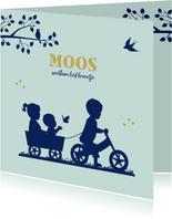 Geboortekaartje fietsje met kar en broertje zusje en baby