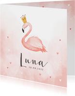 Geboortekaartje flamingo hartjes meisje verf kroontje