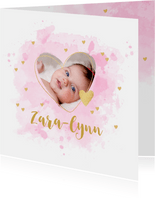 Geboortekaartje foto hartje aquarel roze
