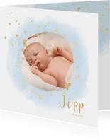 Geboortekaartje foto hartjes waterverf lichtblauw