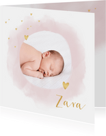 Geboortekaartje foto hartjes waterverf