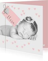 Geboortekaartje foto label hartjes roze