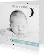 Geboortekaartje foto maan Luc