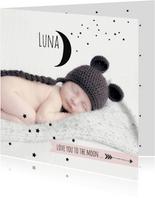 Geboortekaartje foto maan Luna