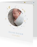Geboortekaartje foto maan sterren jongen