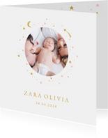 Geboortekaartje foto maan sterren meisje