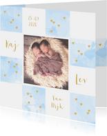 Geboortekaartje foto tweeling aquarel hartjes lichtblauw