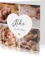 Geboortekaartje fotocollage 4 foto's met wit hart en naam