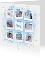 Geboortekaartje fotocollage aquarel hartjes blauw