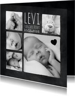 Geboortekaartje fotocollage in zwart wit