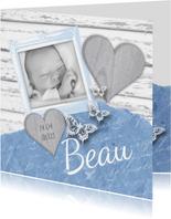 Geboortekaartje fotolijstje hartjes vlinders lichtblauw