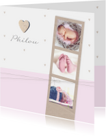 Geboortekaartje fotostrip hartje