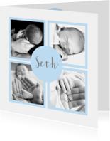 Geboortekaartje foto's vakjes lichtblauw jongen
