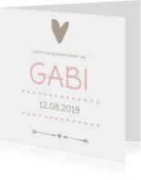 Geboortekaartje Gabi roze hart