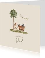Geboortekaartje getekend bakfiets wasbeer en konijn