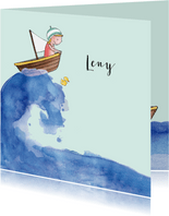Geboortekaartje getekend bootje op zee blond meisje