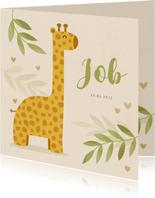 Geboortekaartje giraf botanisch met gouden hartjes